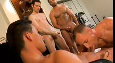 Four naughty gays hard screwing